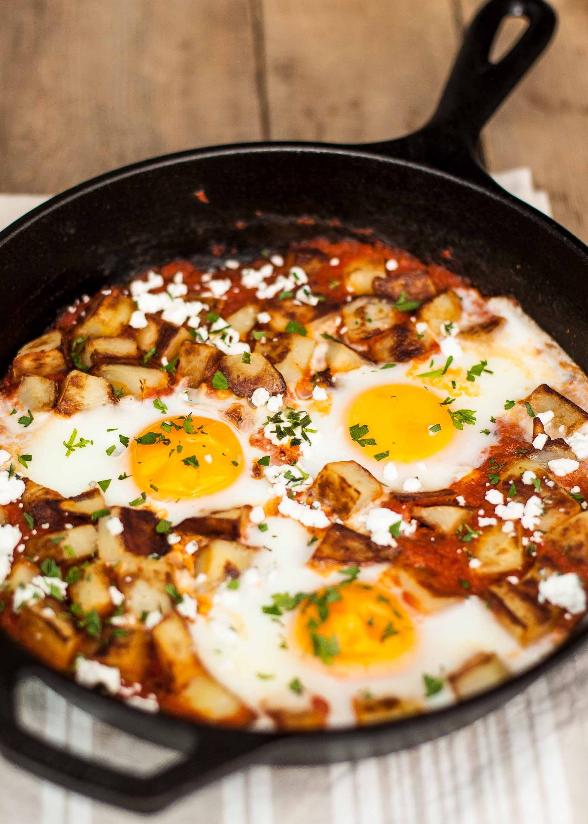 Why not serve eggs for dinner?! Fried potatoes and eggs