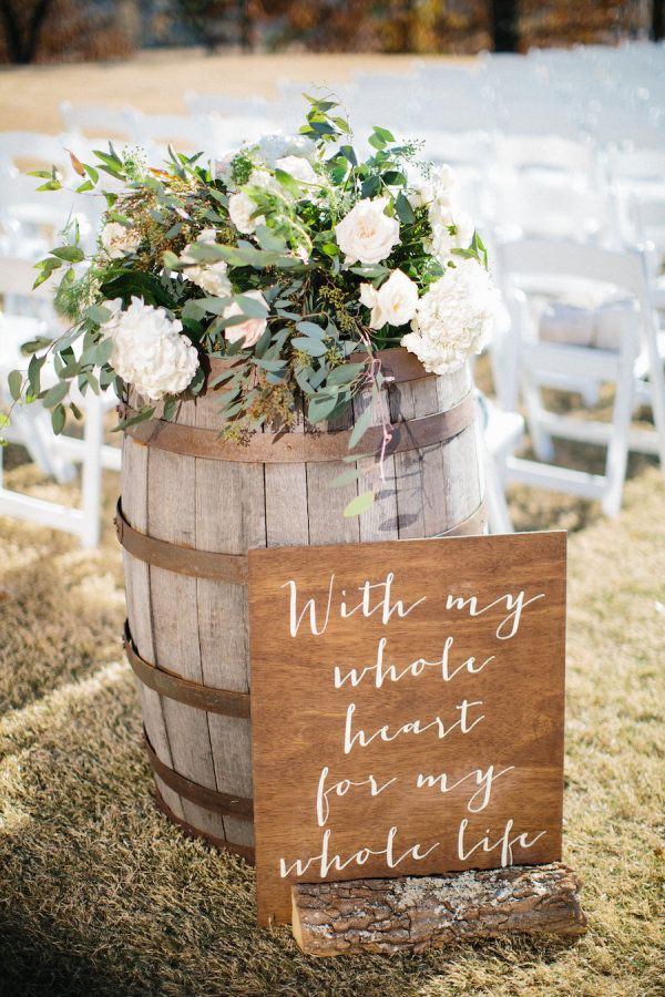 With my whole heart for my whole life rustic wedding sign:
