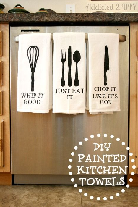Diy Painted Kitchen Towels With Free Svg Files Svg File