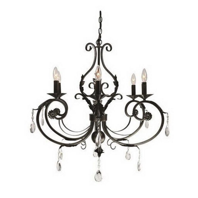 Black Bronze With Crystal Accents 6 Light Chandelier
