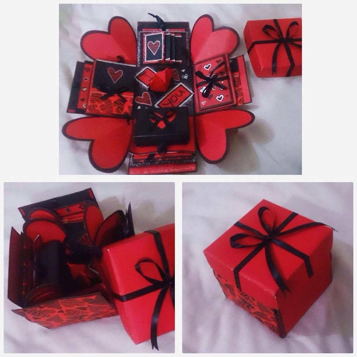 DIY explosion box. Red, Black. Love theme. Diy Gifts