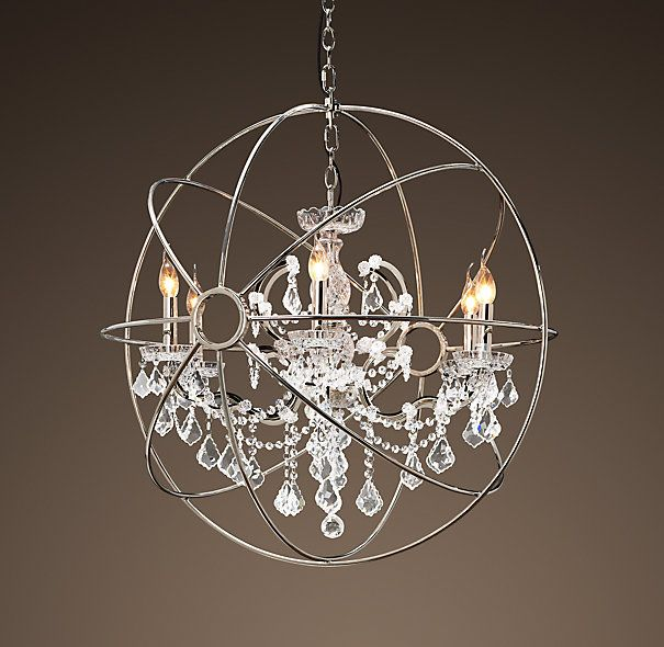 Foucault S Orb Crystal Chandelier Polished Nickel Medium Chandeliers Restoration Hardware