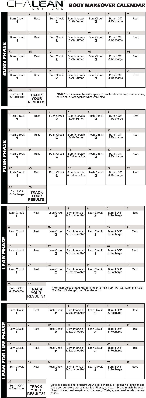 Chalean Extreme Calendar