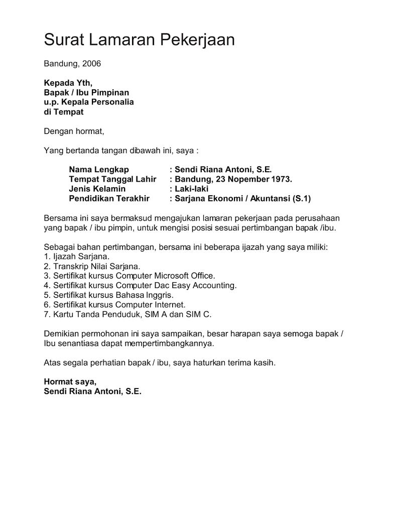 Surat Lamaran Kerja Jika Tidak Ada Lowongan ben jobs