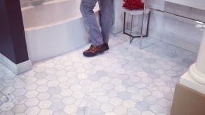 5 Inch Hexagon Carrara Marble Tile Bathroom Floor Park