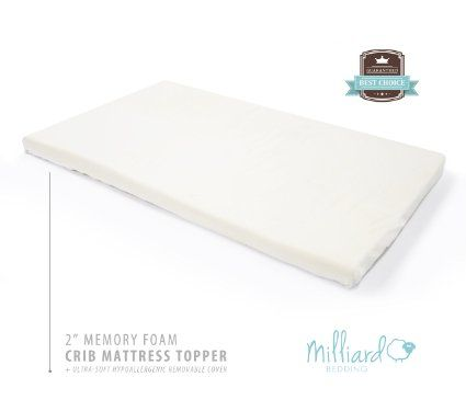 Milliard 2 Inch Ventilated Memory Foam Crib Toddler Bed Mattress Topper With Removable Waterproof