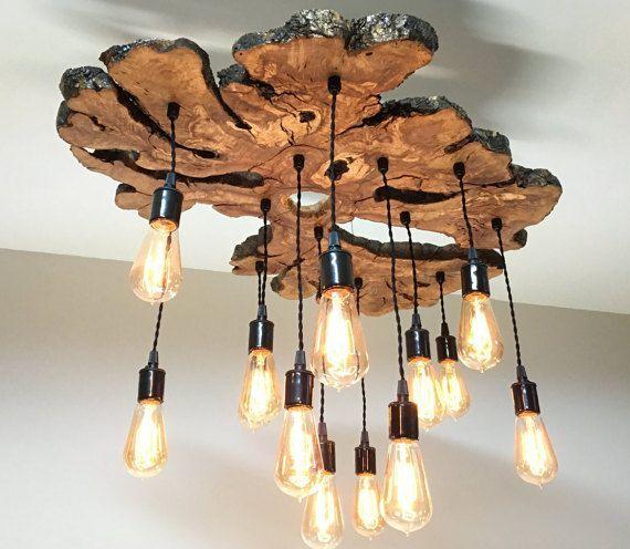 Custom Large Live Edge Olive Wood Slab Light Fixture With Edison Bulbs Modern Rustic