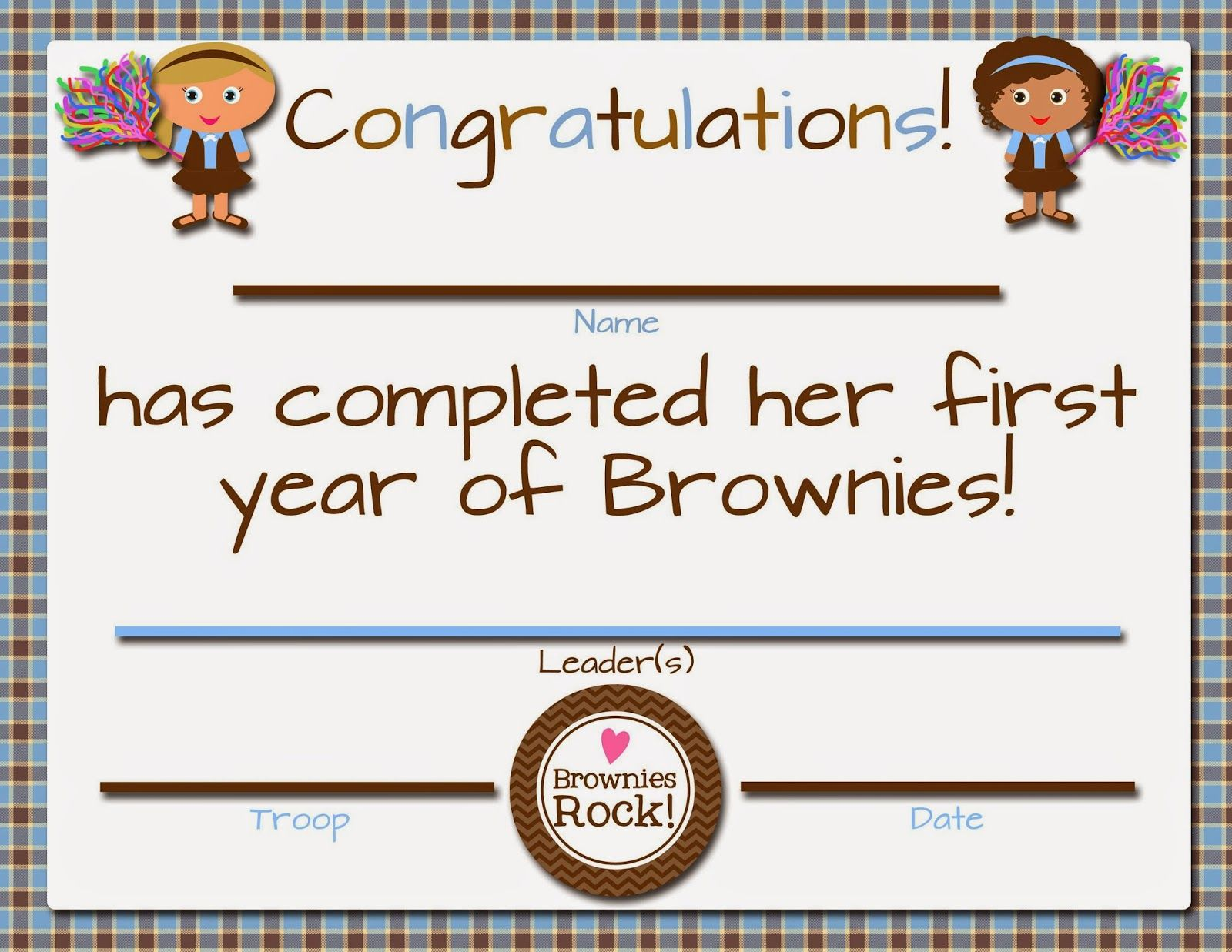 Printable Girl Scout Cadettes Bridging Certificate