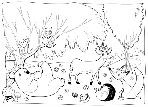 Detailed Coloring Page Forest Creatures Art therapy