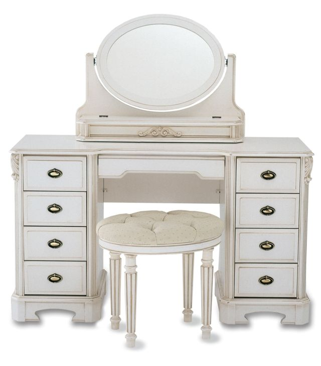 Bedroom Furniture White Stained Wooden Make Up Table With Twin