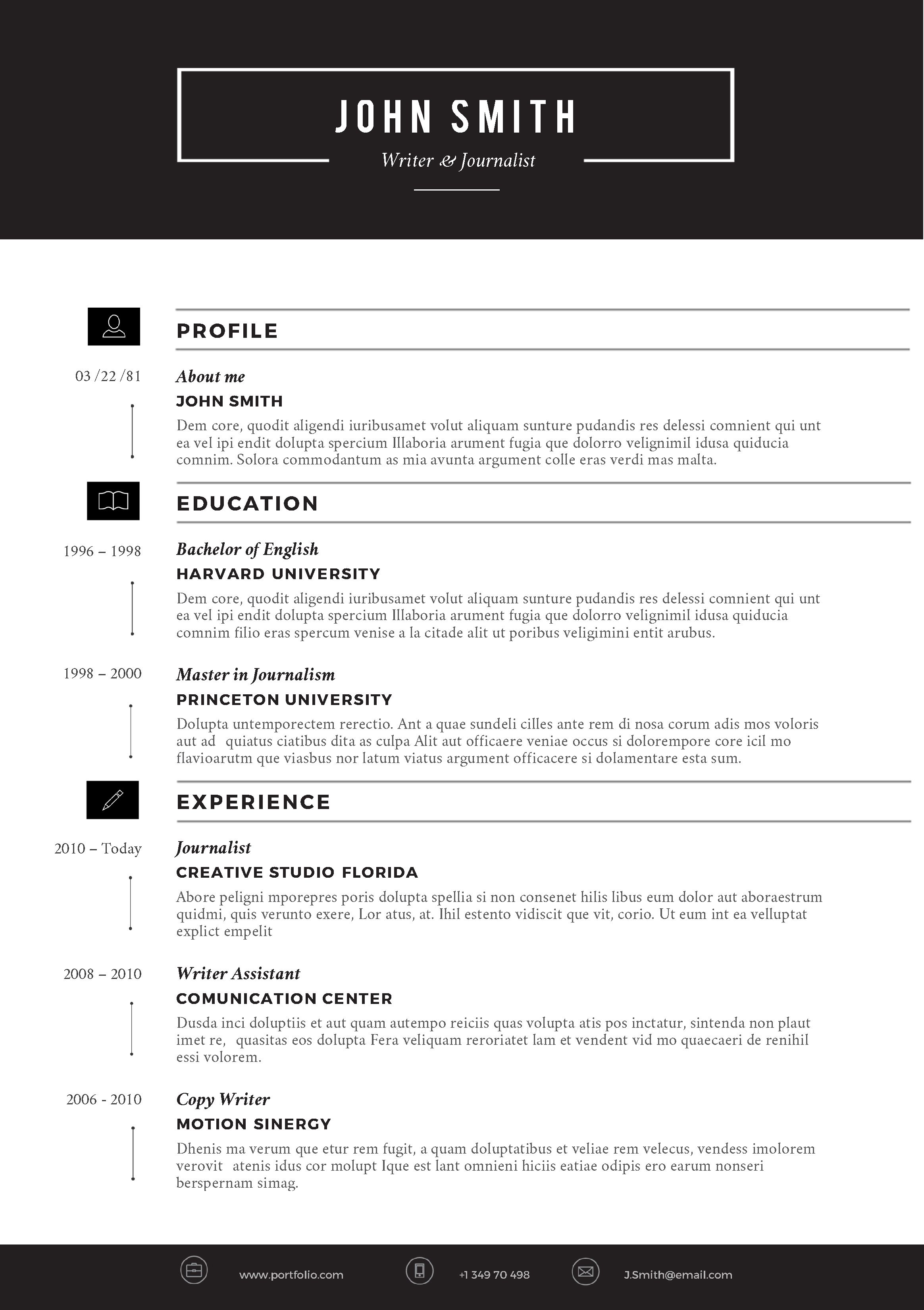 SLEEK Resume Template 10 Trendy Resumes Beaux CV