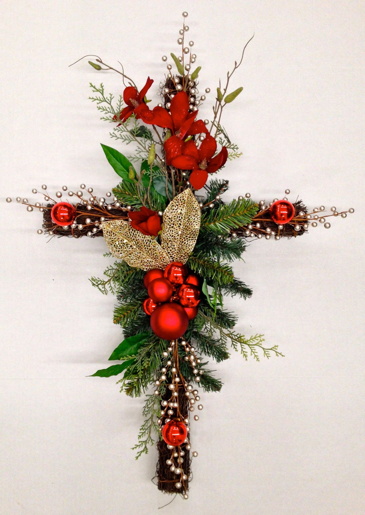 """Twig Memorial Red Floral Cross"" Christmas Holiday 2013"