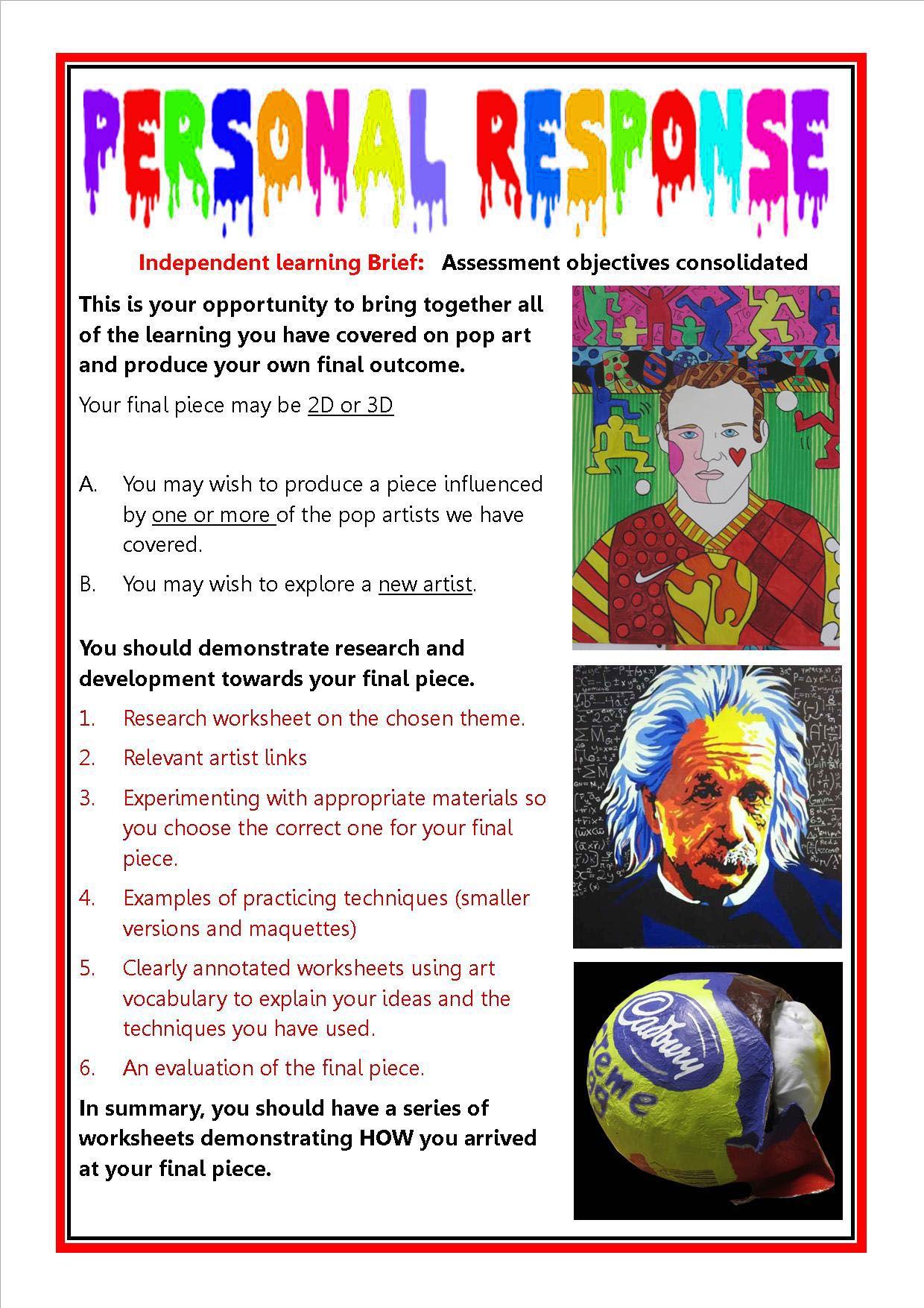 Pop Art Personal Response Gcse Art Checklist