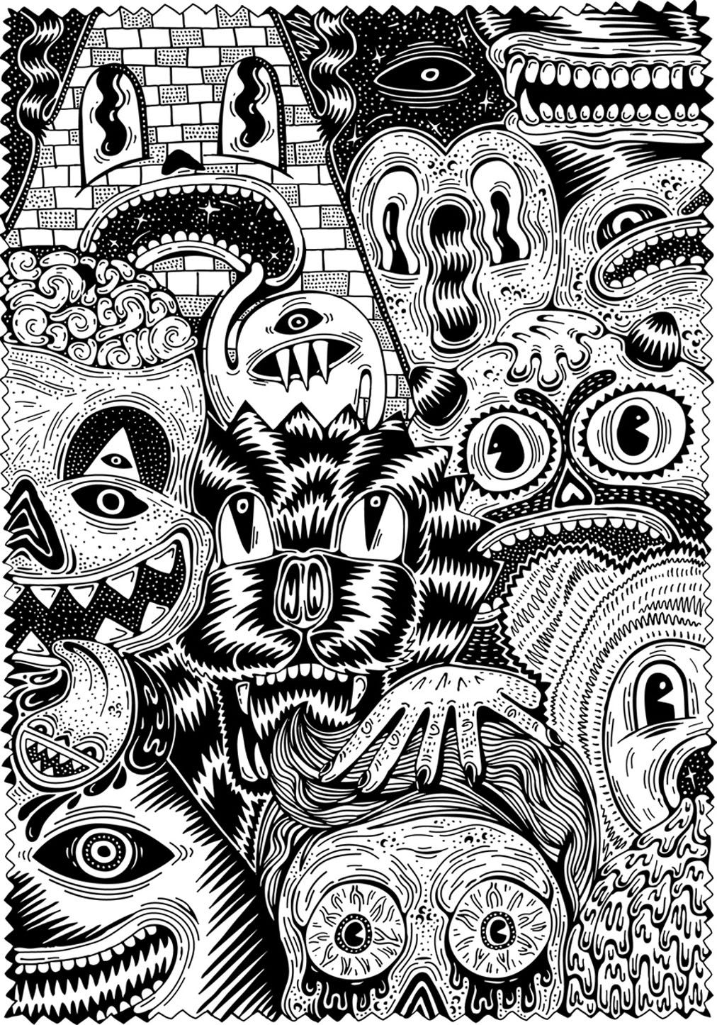 Free coloring page coloringforadult7. Warning scary