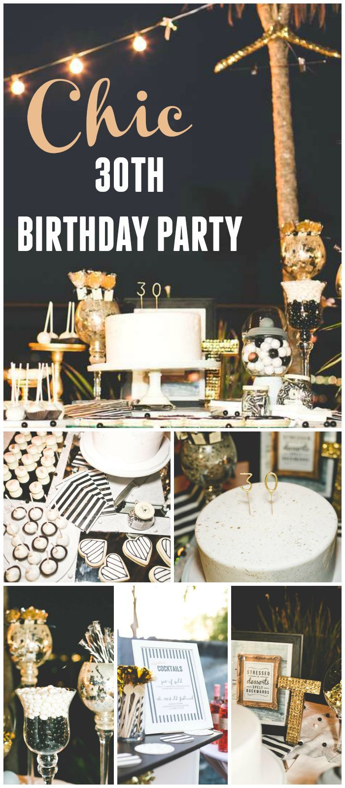 "Stripes & Glitter / Birthday ""Chic Black, White, Gold 30th"