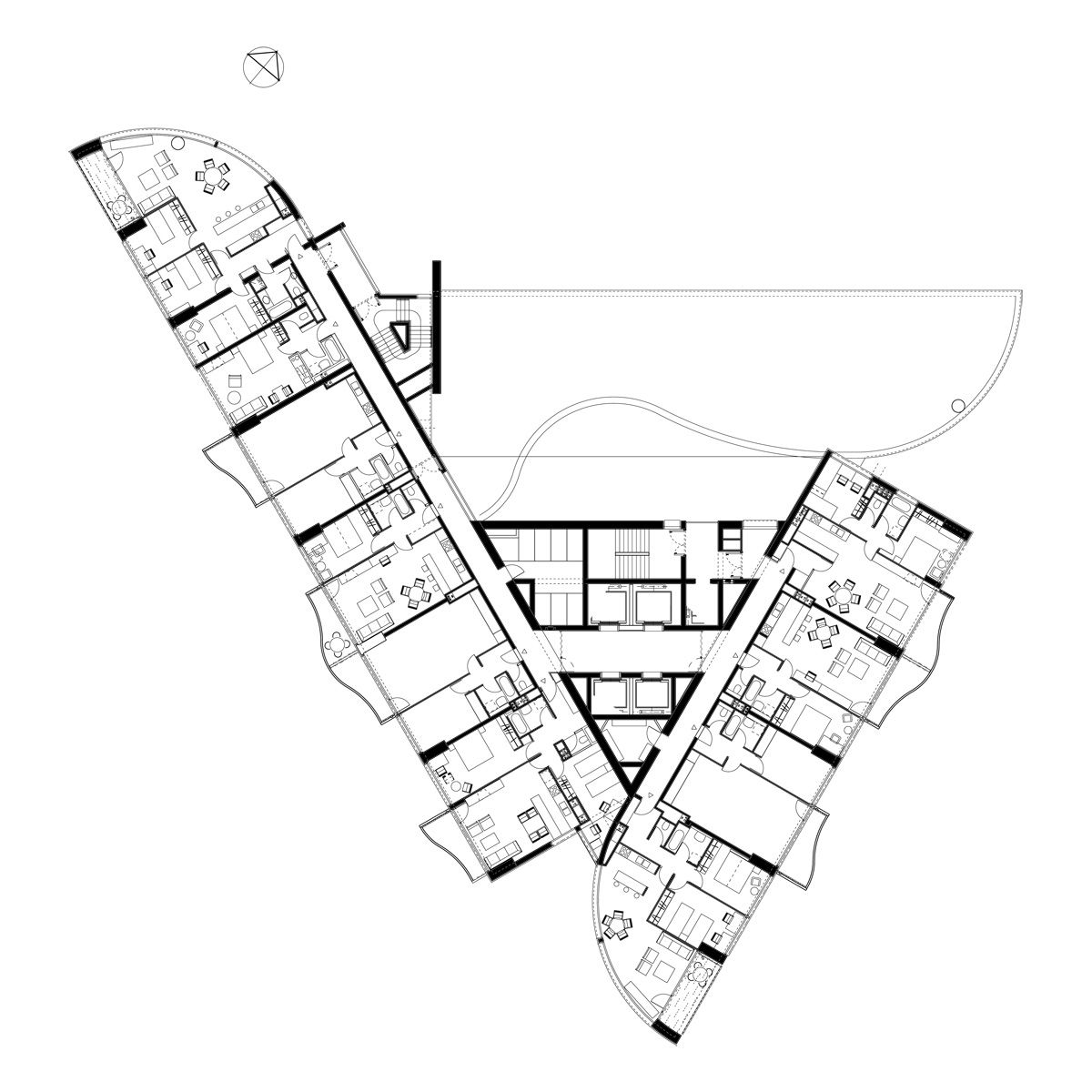 H Seidler Viena The Extended Triangular Plan Shape Of The 32 Storey Tower Is Derived From The