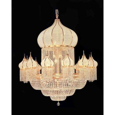 Large Crystal Chanderliers Are Used In Hotel Lobby Banquet Hall