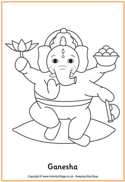 Ganesha Colouring Page Lord Ganesh Colouring Page