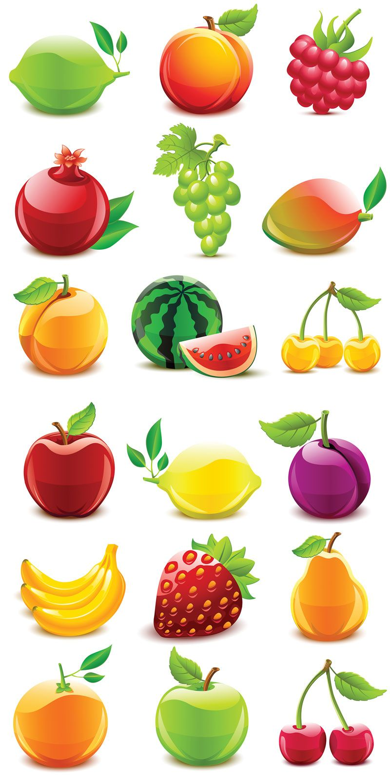 Fruit vector icons. 2 sets with beautiful vector fruit
