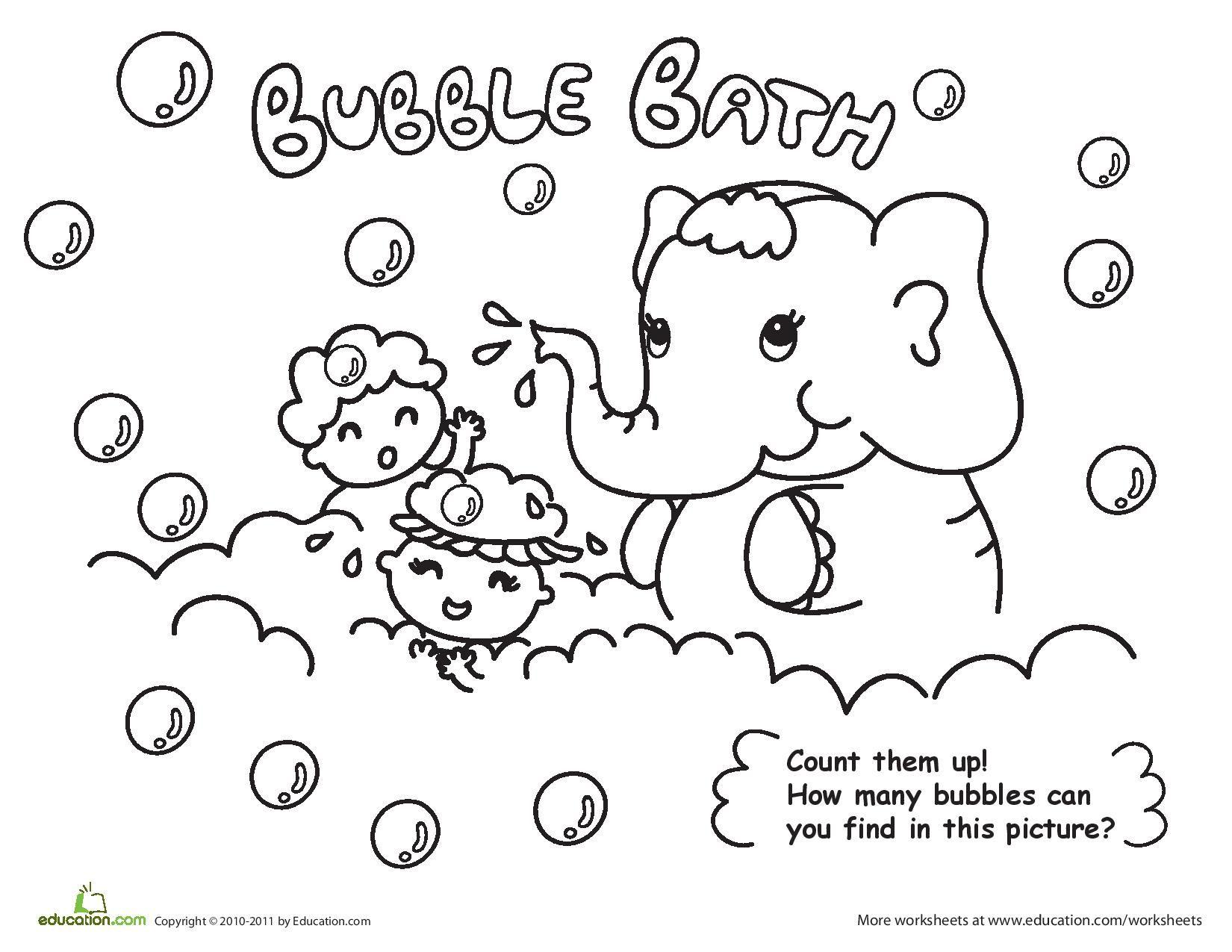 Bubble Bath Coloring Page