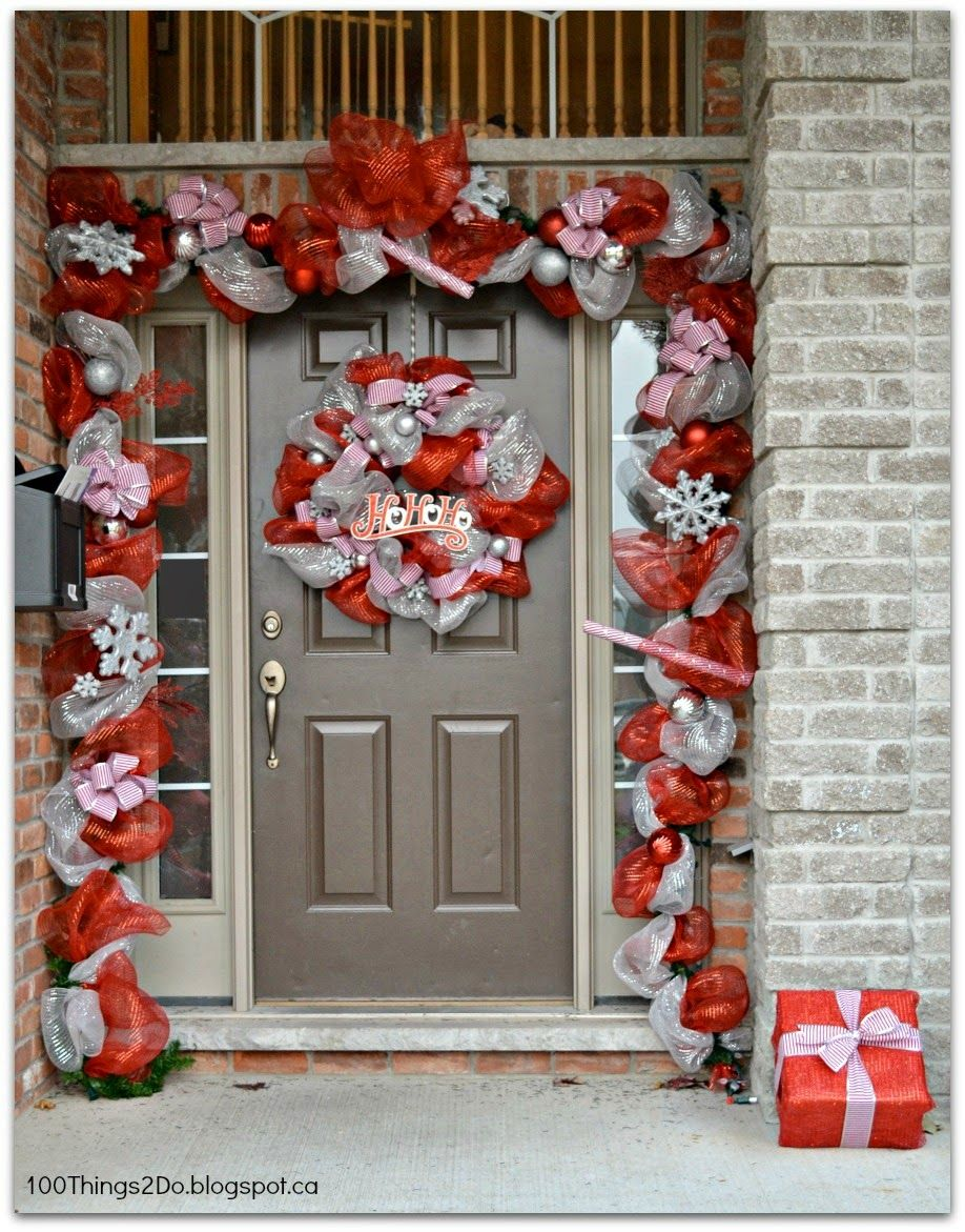 Christmasify your front door with a deco mesh wreath and