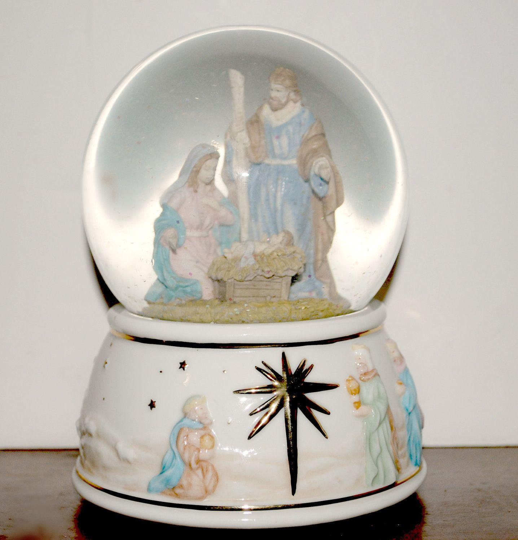 nativity music box snow globe O Holy Night music globe
