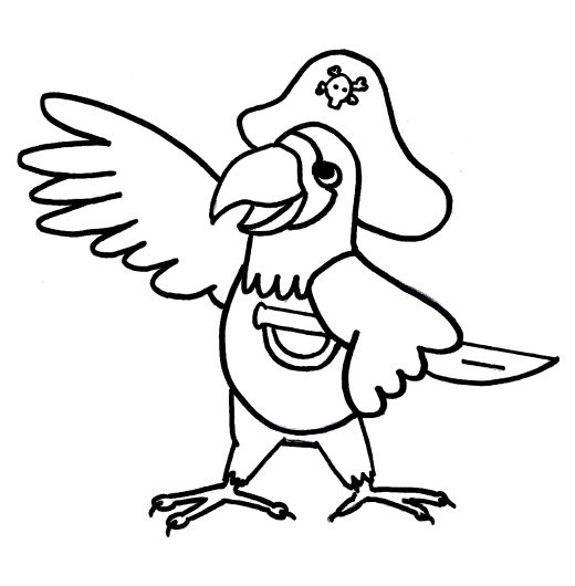 coloring pages pirates and parrots on pinterest