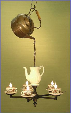 Tea Kettle Teapot Cups And Saucers Chandelier Artist Unknown Light Fixture