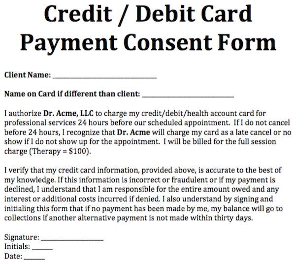 Credit/ Debit Card Payment Consent Form Free Counseling