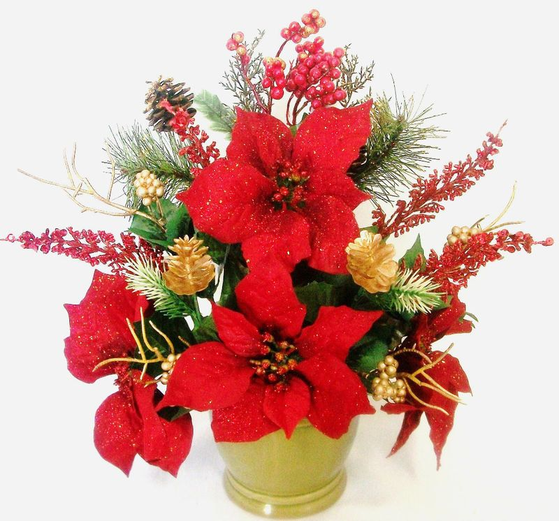 Christmas Silk Flower Floral Arrangement Poinsettias