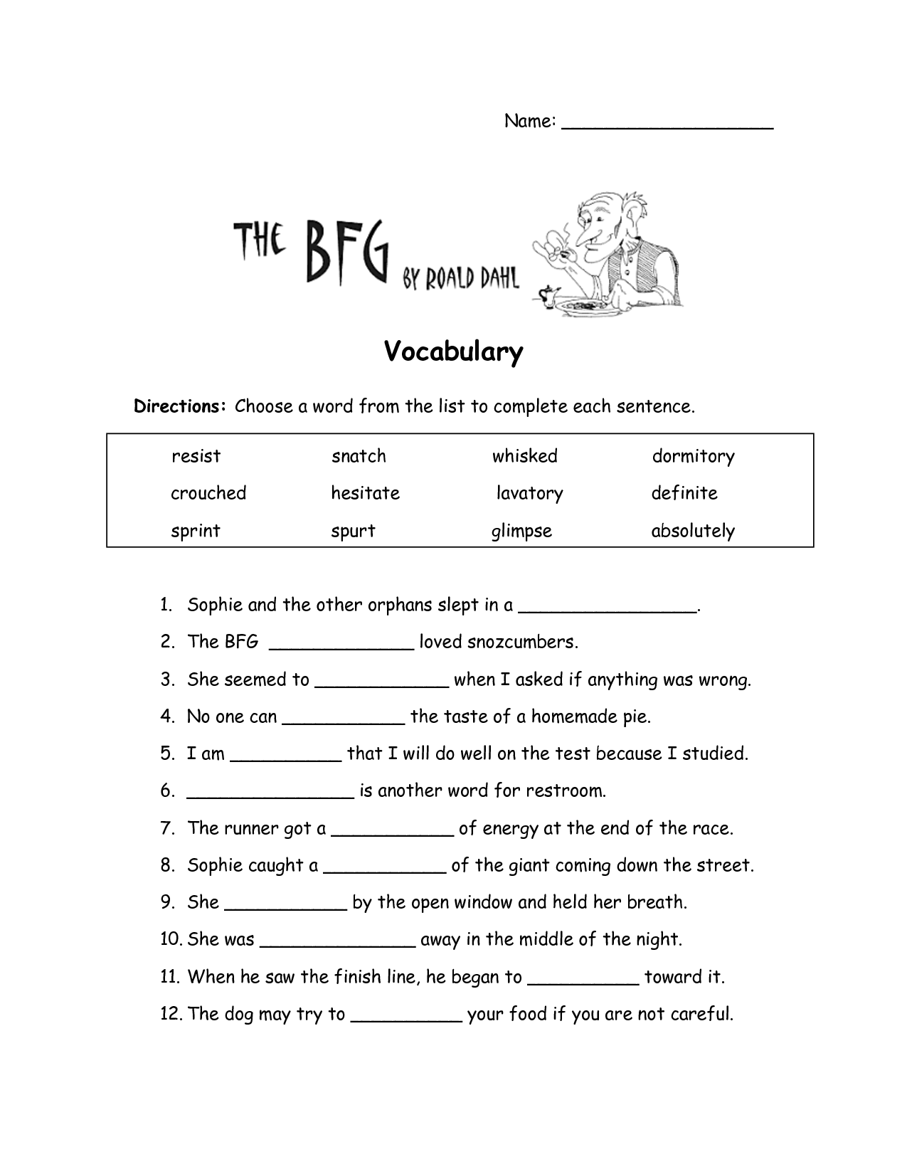 The Bfg Worksheets