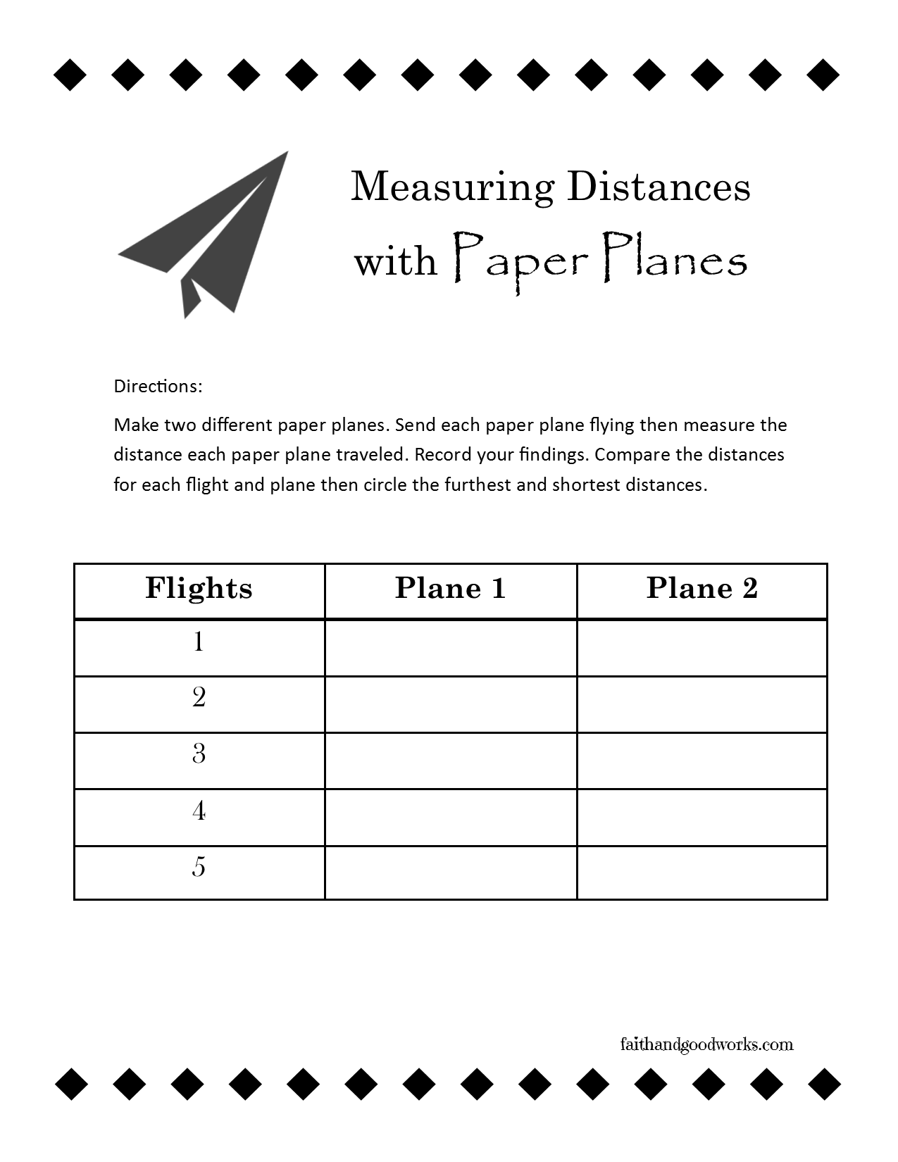 Fun With Paper Planes Use This Free Printable Worksheet