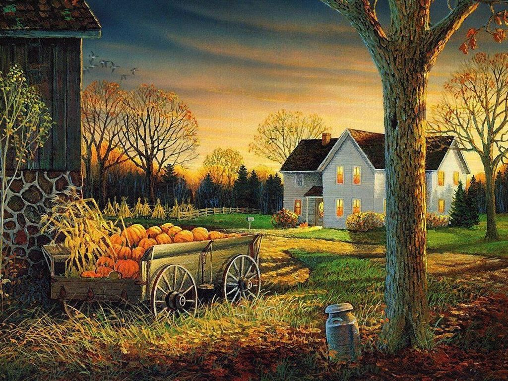 Fall Scenes Wallpaper and Screensavers autumn wagon