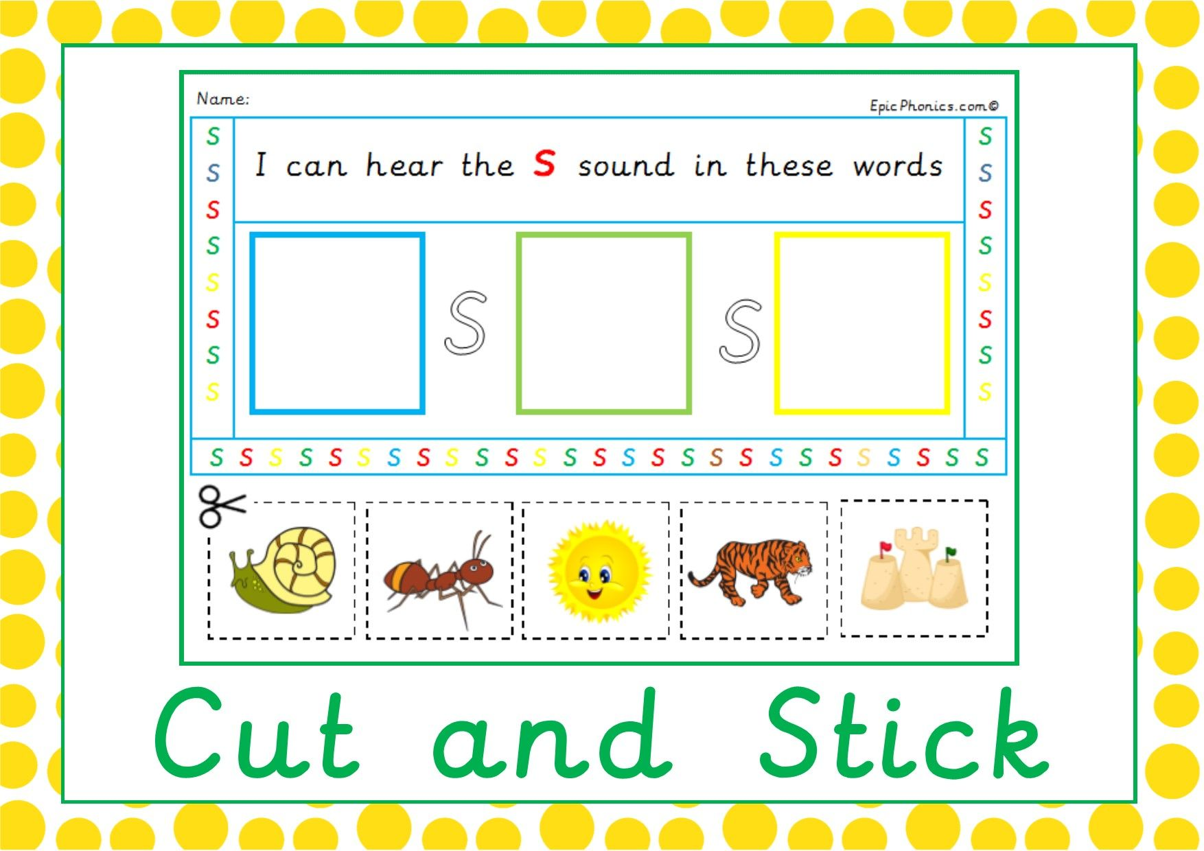 Beginning Sounds Activity Sheet On Epicphonics Phase 2 Letters A Lovely Cut And Stick