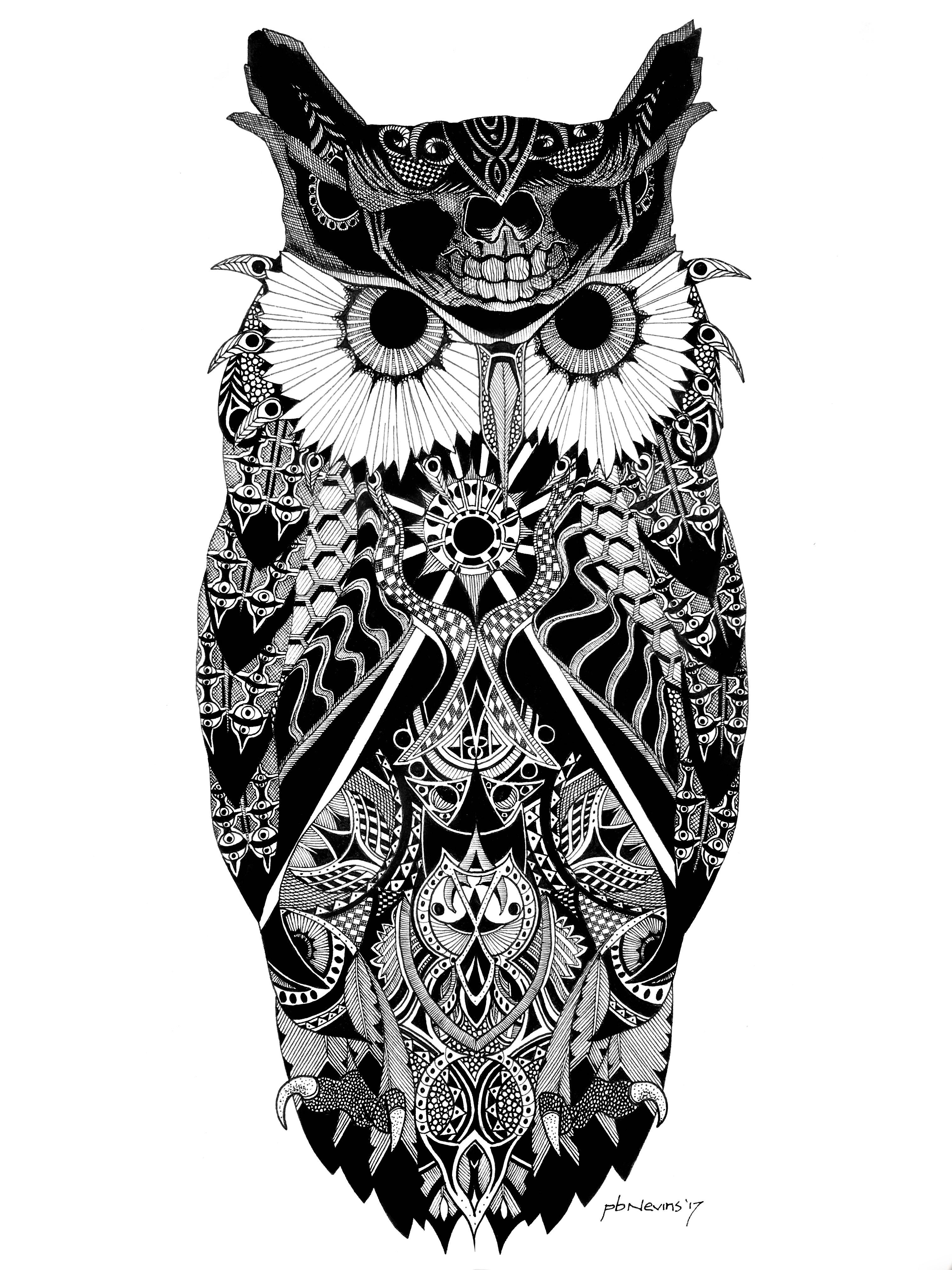 Seer Pen And Ink Drawing On 8x10 Paper Zentangle Owl