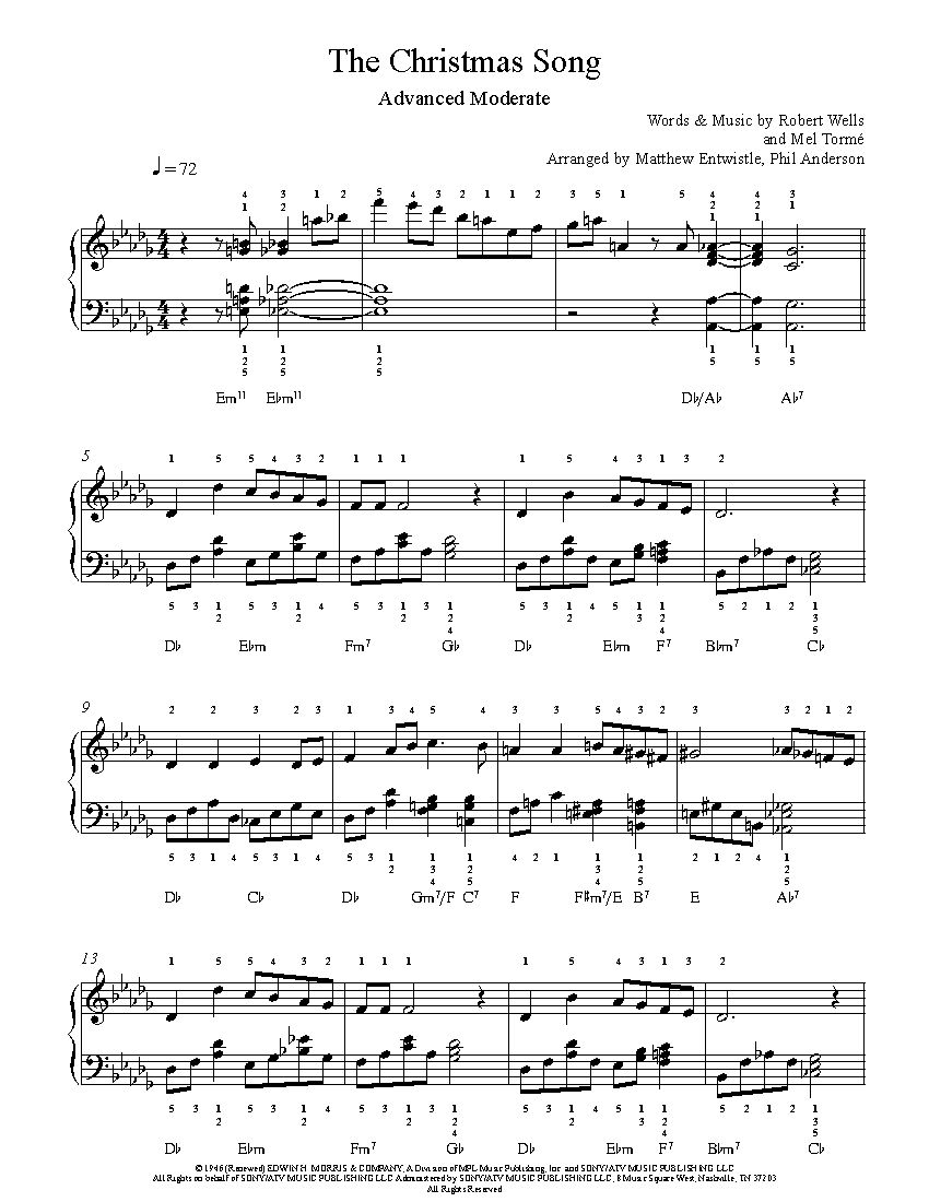 The Christmas Song by Nat King Cole Piano Sheet Music