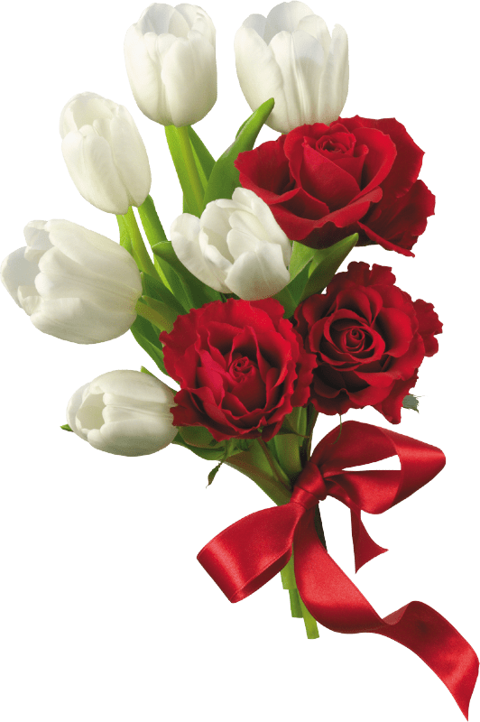 White Tulips and Red Roses Flower Bouquet PNG Clipart