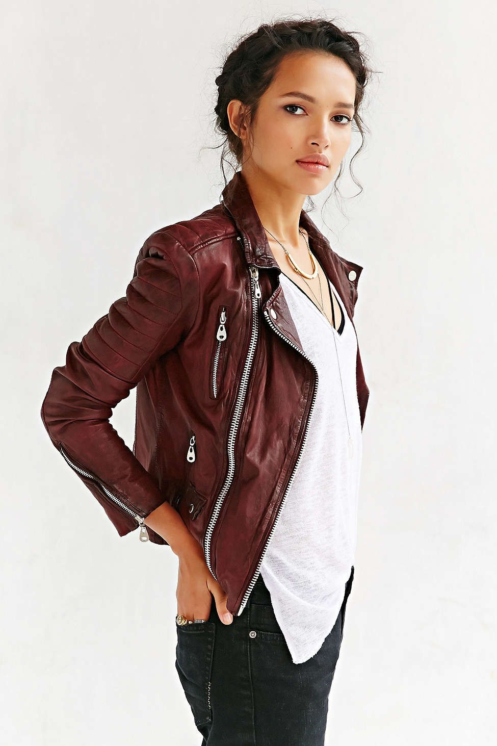 Doma Oxblood Quilted burgundy Leather Jacket. Fall street
