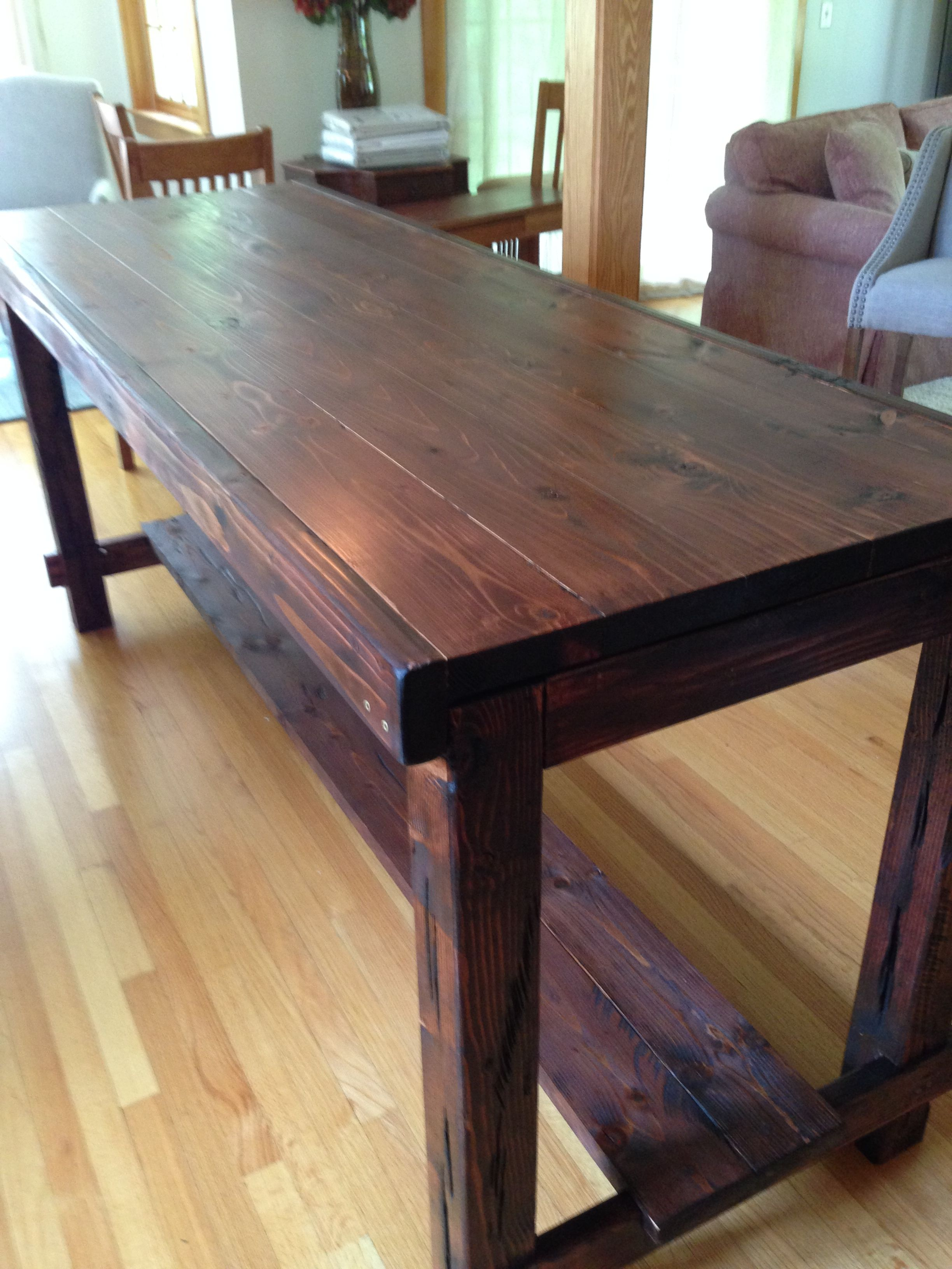 Counter Height Farm Table in custom Red Mahogany, aged and