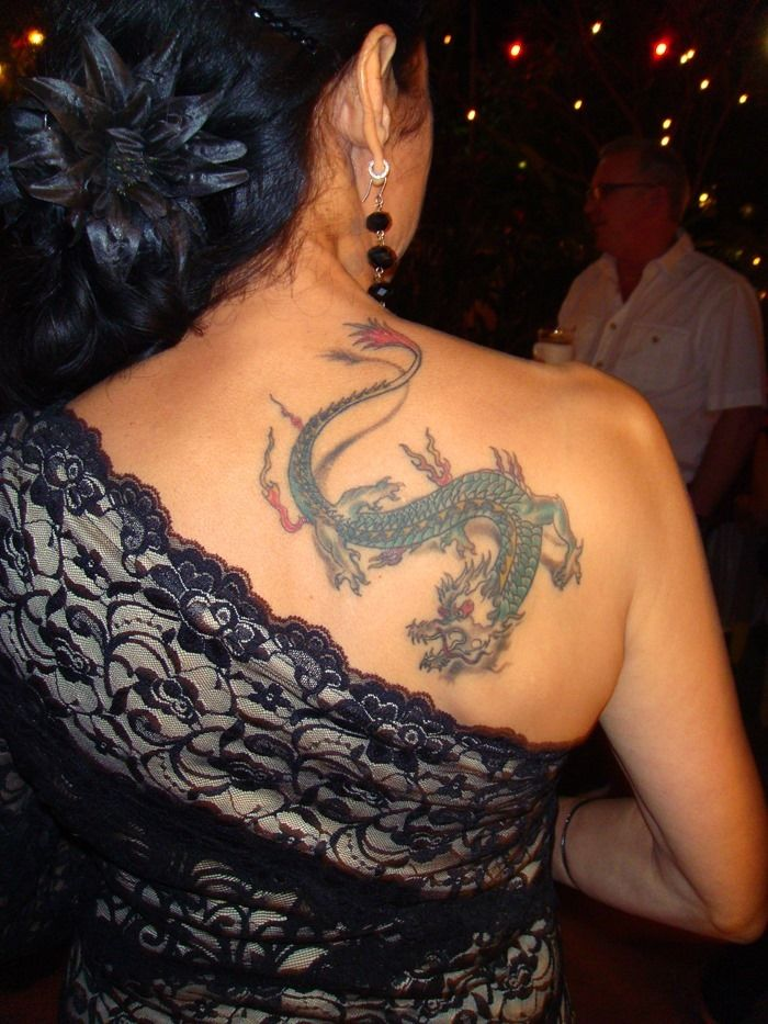 Dragon Tattoo on Back Shoulder for Women Cool Tattoos