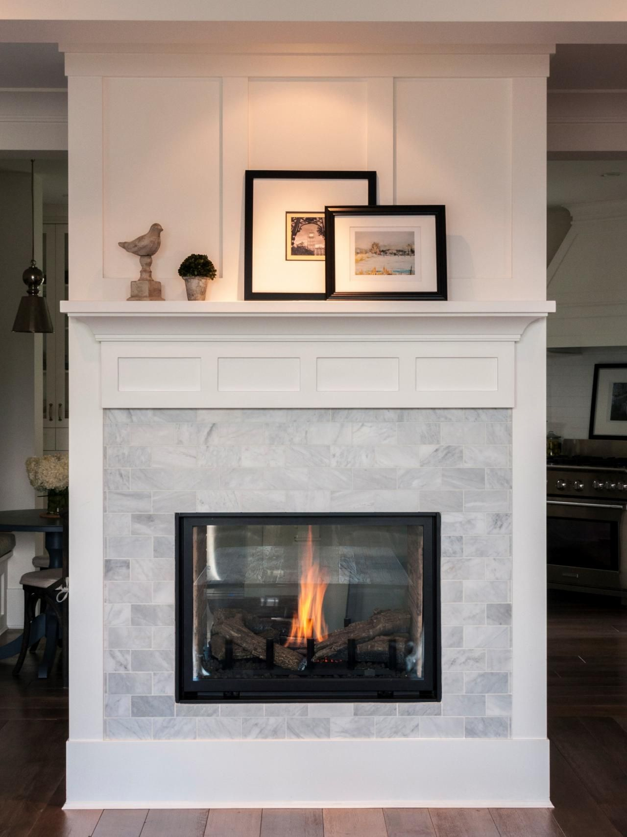 Freestanding Double Sided Marble Fireplace