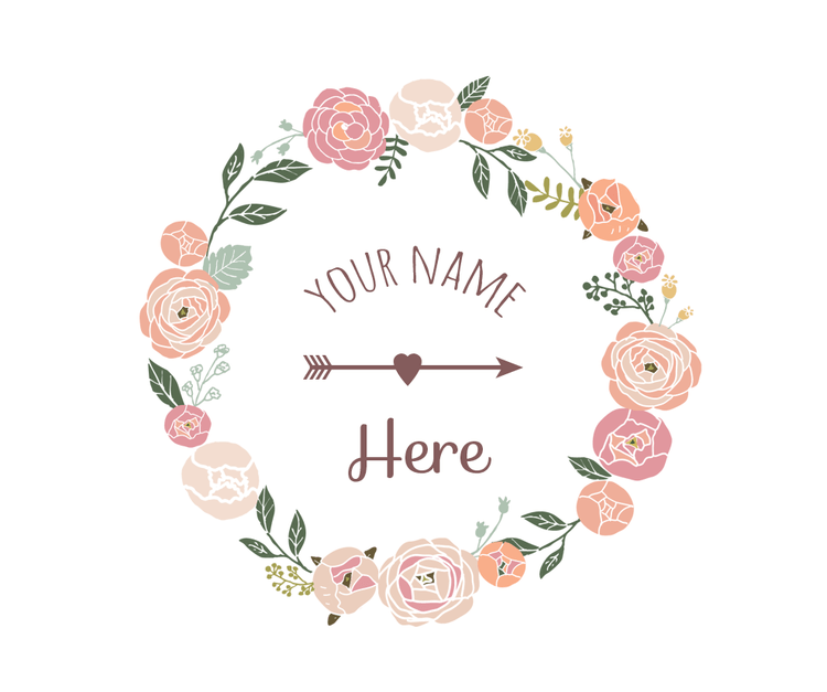 Premade floral wreath logo and watermark design 20.00