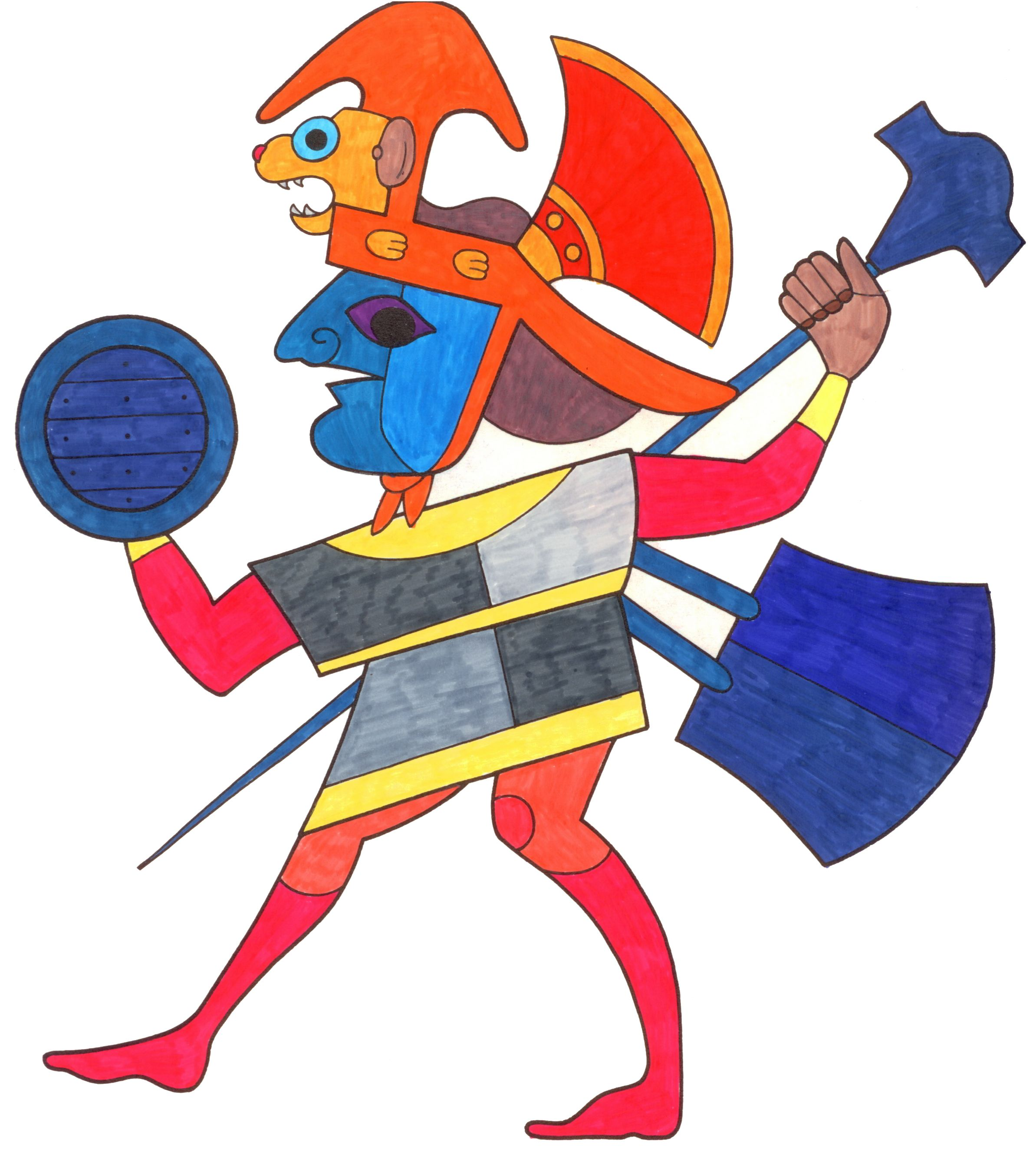 Mayan Mochica Warrior (Colored Pen by San Diego video