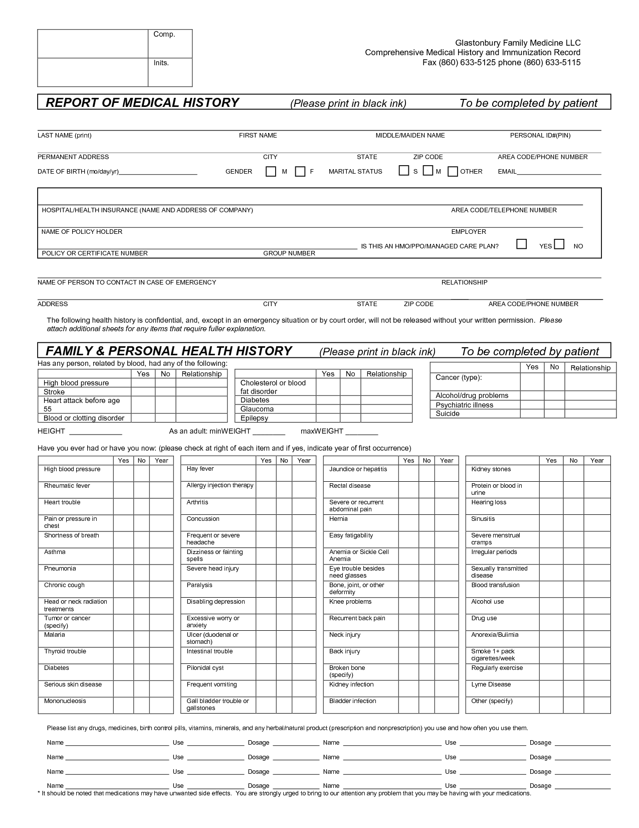 Report Of Medical History Family Personal Health History