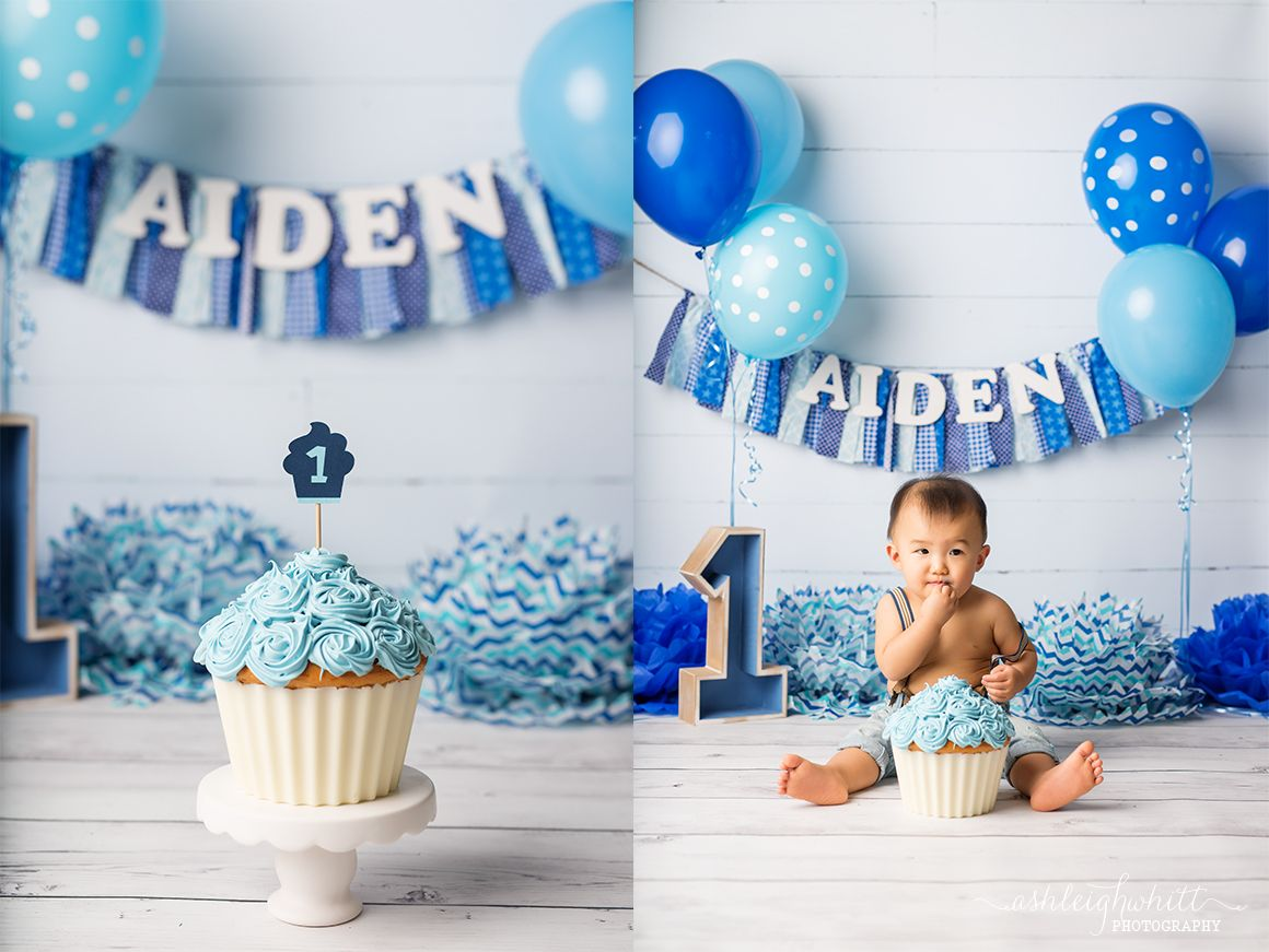 First Birthday Cake Smash Photo Session Blue Giant