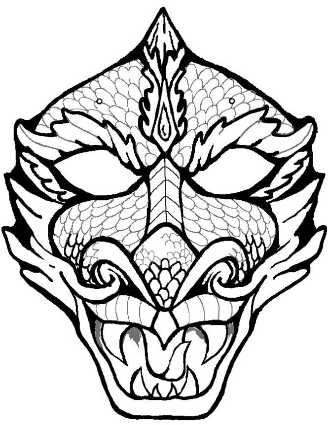 Dragon Face Coloring Page