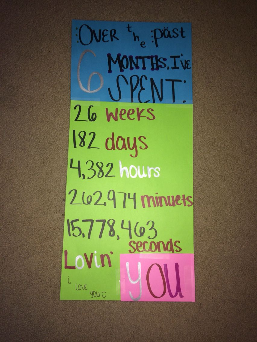 6 month anniversary card idea ♡Lets have a Date