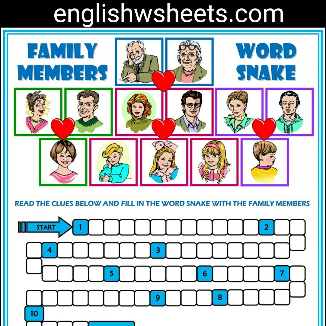 Family Members Esl Printable Word Snake Puzzle Worksheet For Kids Family Members Esl