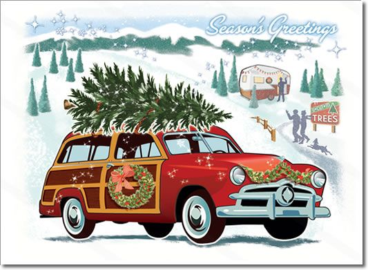 Vintage Woodie Car Christmas Card Features A Vintage