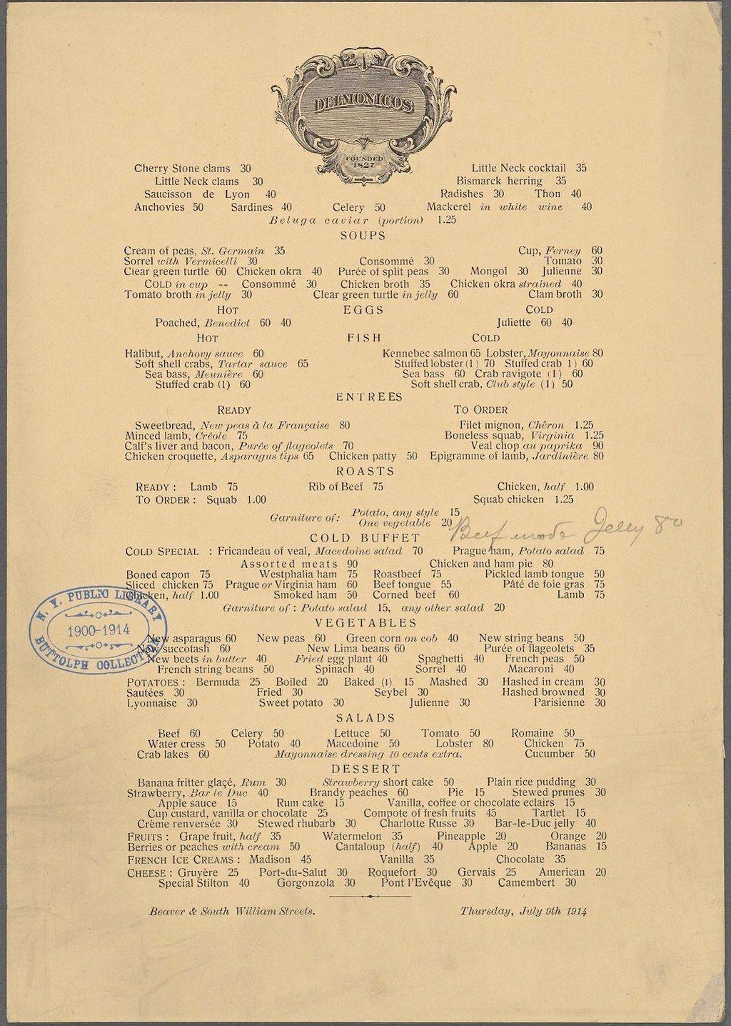 Delmonico's, 1914 vs. 2014 Nyc restaurants, Menu and